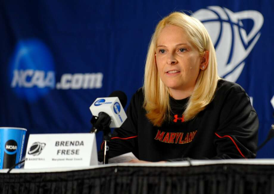 Maryland Head Coach Brenda Frese speaks to the media during a press conference at the Webster Bank Arena in Bridgeport, Conn. at on Friday March 29, 2013. The UConn Huskies will play the Maryland Terrapins in the NCAA Bridgeport Regional Semifinals on Saturday March 30th and 2:30.