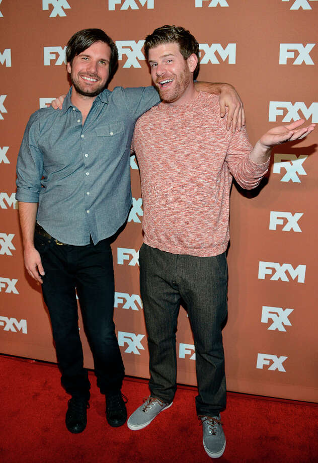 Jon Lajoie and Stephen Rannazzisi attend the 2013 FX Upfront Bowling Event at Luxe at Lucky Strike Lanes on March 28, 2013 in New York City. Photo: Eugene Gologursky, WireImage / 2013 Eugene Gologursky