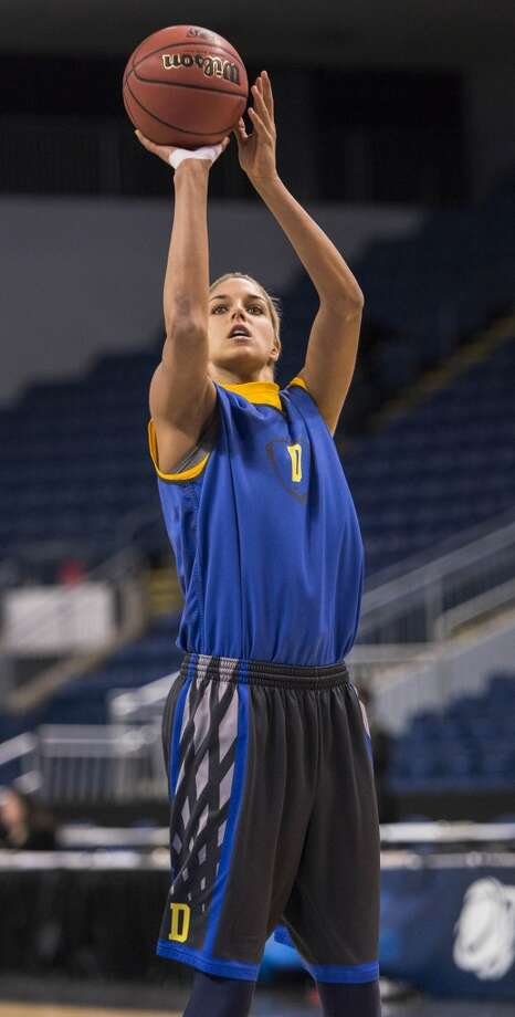 Delaware women's basketball player, Elena Delle Donne, takes an outside shot during a team practice at Webster Bank Arena in Bridgeport, Conn. on Friday, March 29, 2013. The Delaware Blue Hens will play the Kentucky Wildcats in the NCAA Bridgeport regional semifinals SaturdayMarch 30th at noon.