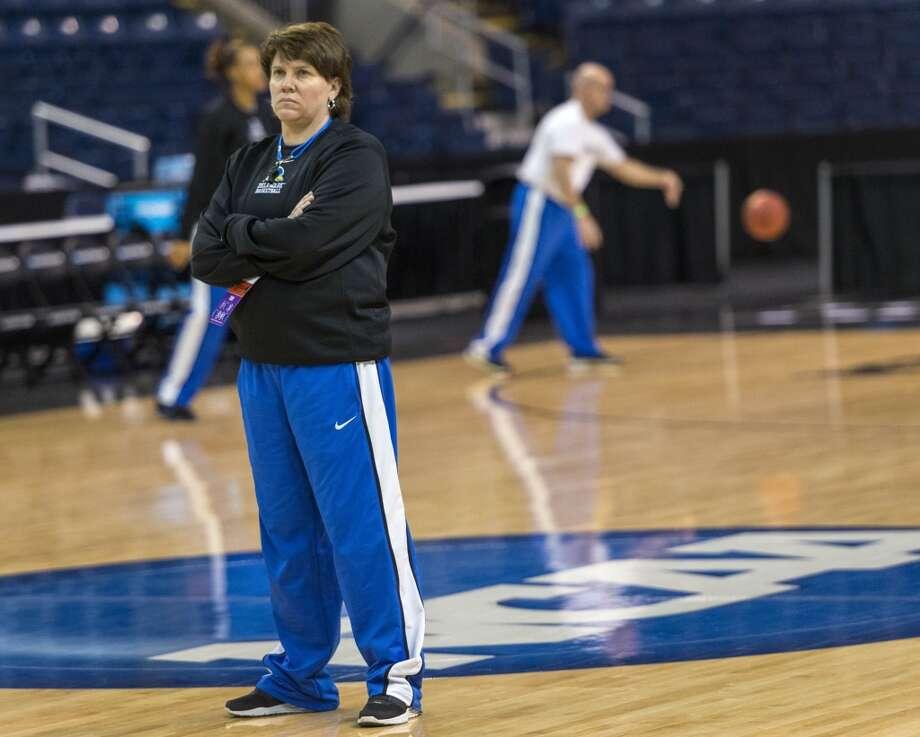 Delaware women's basketball head coach, Tina Martin, watches her team practice at Webster Bank Arena in Bridgeport, Conn. on Friday, March 29, 2013. The Delaware Blue Hens will play the Kentucky Wildcats in the NCAA Bridgeport regional semifinals SaturdayMarch 30th at noon.