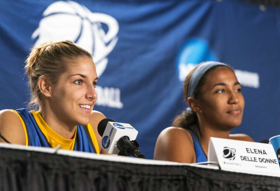 Delaware women's basketball players, Elena Delle Donne, Danielle Parker, speak to the media during a press conference at Webster Bank Arena in Bridgeport, Conn. on Friday, March 29, 2013. The Delaware Blue Hens will play the Kentucky Wildcats in the NCAA Bridgeport regional semifinals Saturday March 30th at noon.