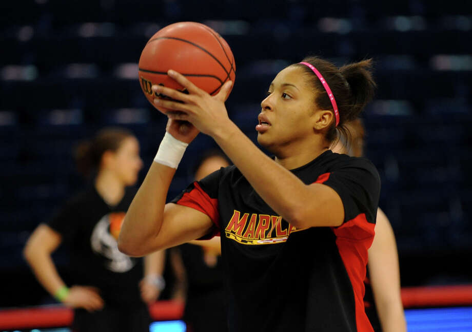 Tianna Hawkins during Maryland women's team practice at the Webster Bank Arena in Bridgeport, Conn. on Friday March 29, 2013. The UConn Huskies will play the Maryland Terrapins in the NCAA Bridgeport Regional Semifinals on Saturday March 30th at 2:30. Photo: Christian Abraham / Connecticut Post