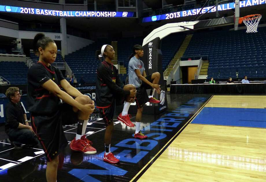 The Maryland women's team in practice at the Webster Bank Arena in Bridgeport, Conn. on Friday March 29, 2013. The UConn Huskies will play the Maryland Terrapins in the NCAA Bridgeport Regional Semifinals on Saturday March 30th at 2:30. Photo: Christian Abraham / Connecticut Post
