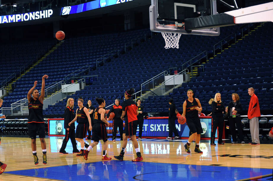 Maryland women's team practices at the Webster Bank Arena in Bridgeport, Conn. on Friday March 29, 2013. The UConn Huskies will play the Maryland Terrapins in the NCAA Bridgeport Regional Semifinals on Saturday March 30th at 2:30. Photo: Christian Abraham / Connecticut Post