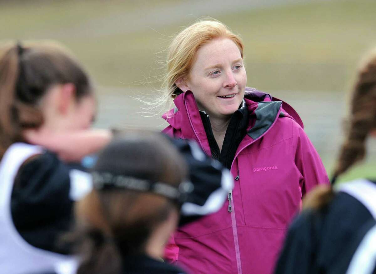 New Canaan High School girls lacrosse coach Kristin Woods during the girls high school lacrosse scrimmage between Convent of the Sacred Heart and New Canaan High School at Convent in Greenwich, Tuesday, March 26, 2013.