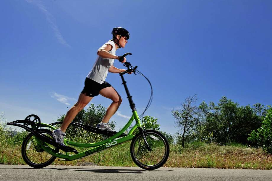 The ElliptiGO is one of the unusual bikes that have been spotted at S clov a. The ElliptiGO combines the motion of an elliptical machine with the functionality of a bicycle. The three models range in price from $1,799 to $3,499 plus tax. Photo: Courtesy ElliptoGO