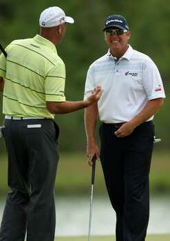 D.A. Points (right) shares a laugh with playing partner Stewart Cink during the second round of the Shell Houston Open, Friday, March 29, 2013 at the Redstone Tournament Course in Humble. (Photo: Eric Christian Smith/For the Houston Chronicle) Photo: Eric Christian Smith, For The Chronicle