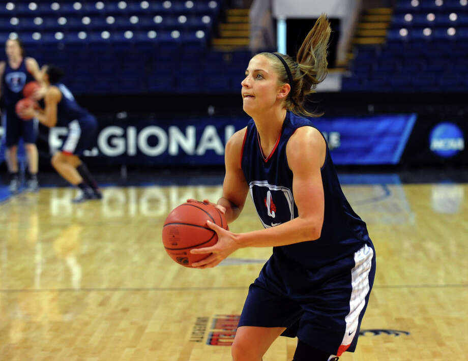 Caroline Doty at UConn women's team practice at the Webster Bank Arena in Bridgeport, Conn. on Friday March 29, 2013. The UConn Huskies will play the Maryland Terrapins in the NCAA Bridgeport Regional Semifinals on Saturday March 30th at 2:30. Photo: Christian Abraham / Connecticut Post