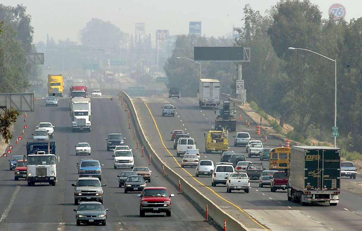 """Highway 99 cuts through Fresno, traffic along the corridor is one of the many practices that contribute to the poor air quality. The San Joaquin Valley has three of the most polluted metropolitan areas in the US. Between 8 and 10 percent of the centrasl valley population has a lung disease like asthma. The local air pollution board will voluntarily ask that the valley be upgraded to """"Extreme"""" catergory of air pollution from """"Severe"""" putting them in par with LA and giving them 5-7 more years to deal with the problem."""