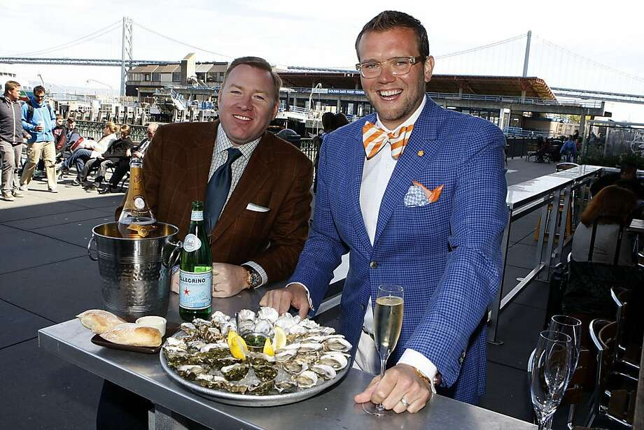 Robert Weakley (left) and Dave Bernahl at a favorite hangout, the Hog Island Oyster bar at the Ferry Building in San Francisco. Photo: Liz Hafalia, The Chronicle