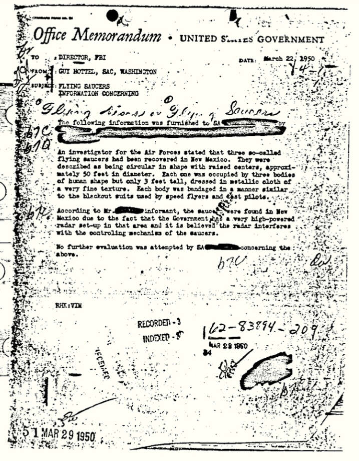 "This 1950 document released by the FBI under the Freedom of Information and Privacy Acts Section, shows a Federal Bureau of Investigation report of ""flying saucers"" in New Mexico sent to then-Director J. Edgar Hoover in 1950. The document has become the FBI's most popular file in the bureau's electronic reading room. (AP Photo/FBI) Photo: HOPD"