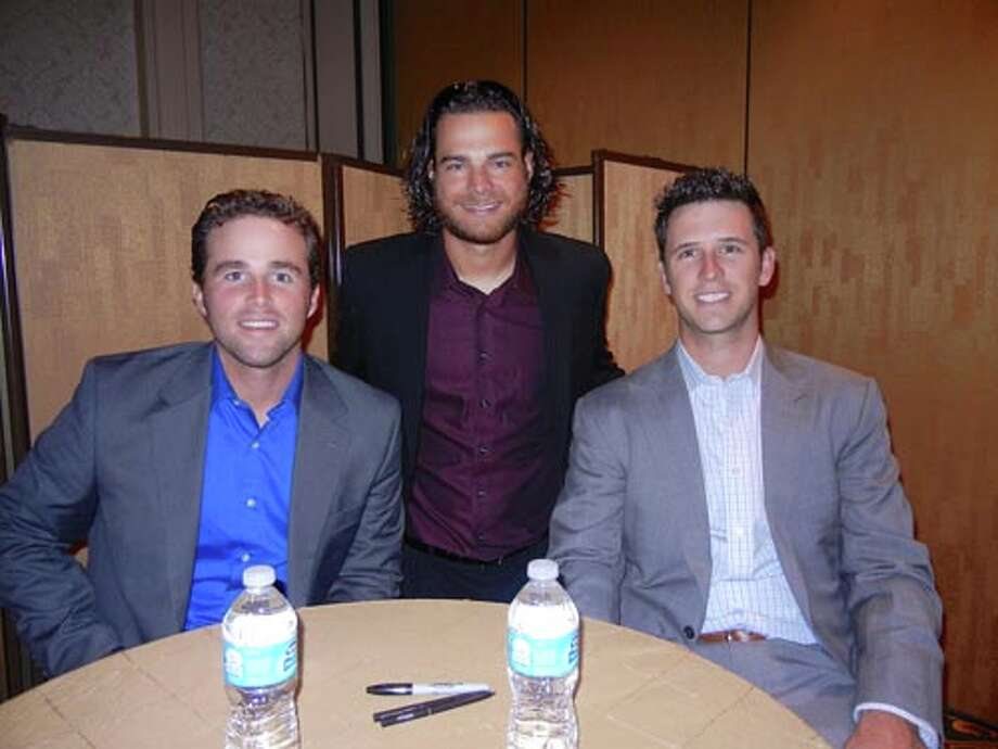 SF Giants Jackson Willams (at left) with Brandon Crawford and Buster Posey at the Giants Play Ball Lunch