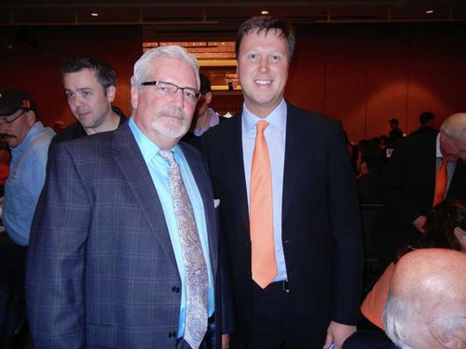 SF Giants GM Brian Sabean (left) and Giants announcer Dave Flemming at the Play Ball Lunch