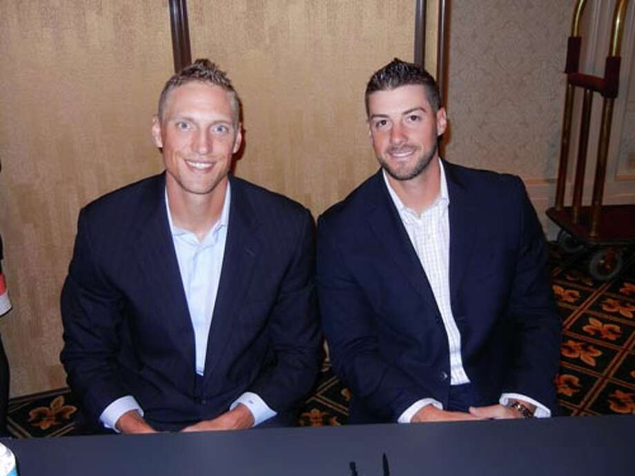 SF Giants Hunter Pence (left) and George Kontos at the Giants Play Ball Lunch