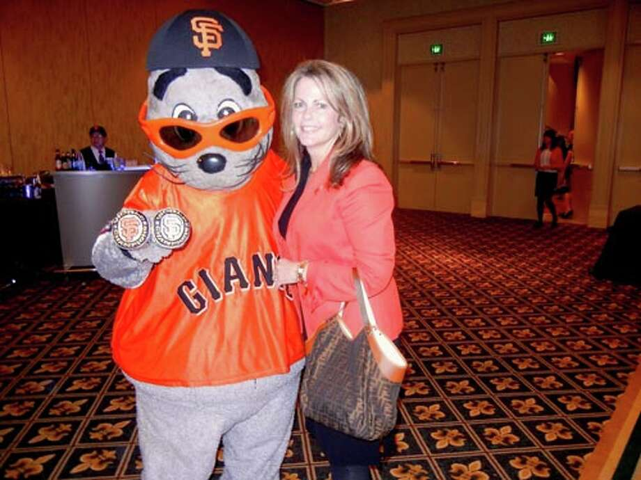 Lou Seal and Giants Community Fund board member Kathleen Dowling McDonough at the Giants Play Ball Lunch