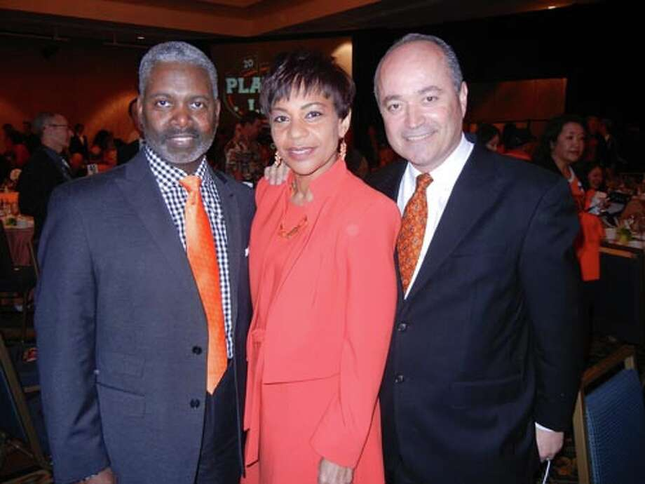 Tommy Moon (left) with his wife, Giants announcer Renel Brooks-Moon and SF Giants Community Fund board member John Gumas at the Play Ball Lunch