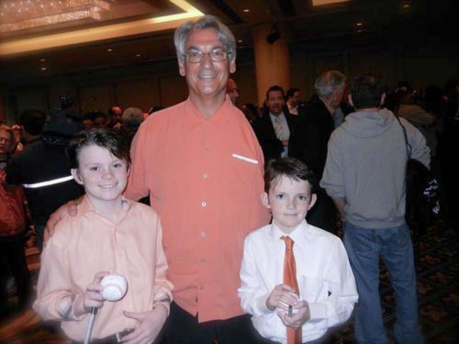 Colman McDonough (left) with SF Giants great Dave Dravecky and his brother, Michael McDonough at the Play Ball Lunch