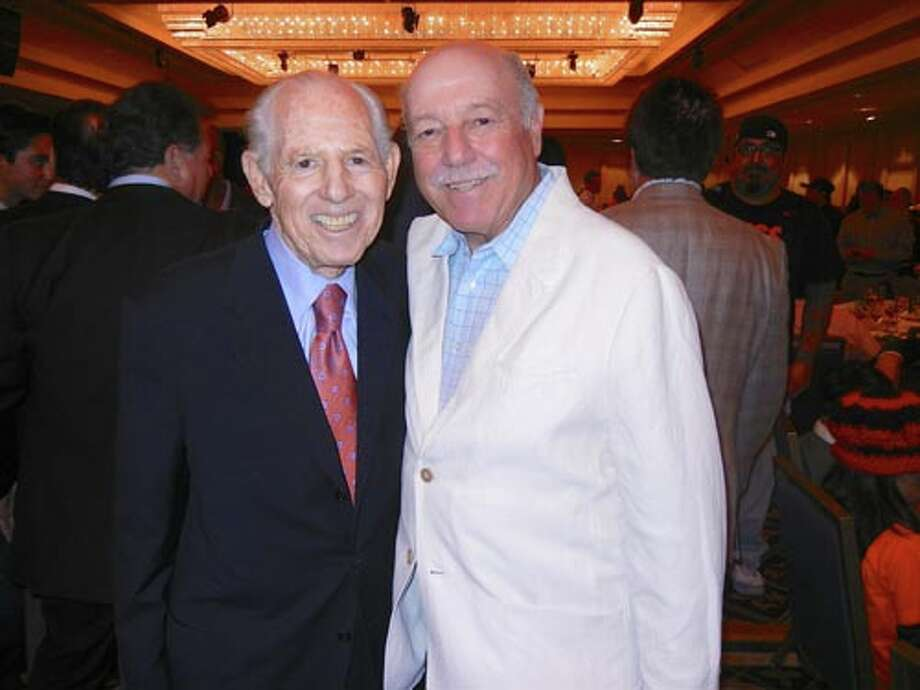 SF Giants partner Allan Byer (left) and KNBR's Marty Lurie at the Play Ball Lunch
