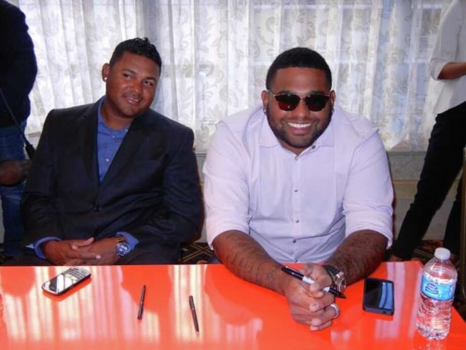 SF Giants Jean Machi (left) and Pablo Sandoval at the Giants Play Ball Lunch