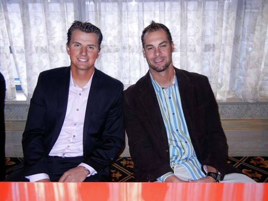 SF Giants Joe Panik (left) and Ryan Vogelsong at the Giants Play Ball Lunch