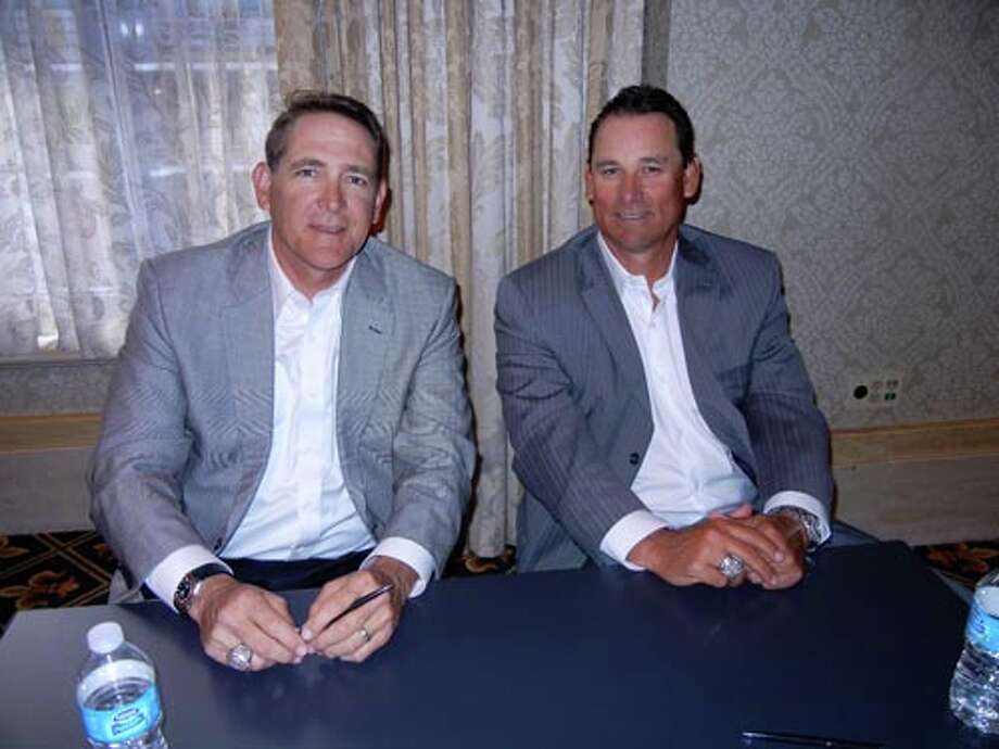 SF Giants Pitching coach Dave Righetti  (left) and Bullpen coach Mark Gardner at the Giants Play Ball Lunch