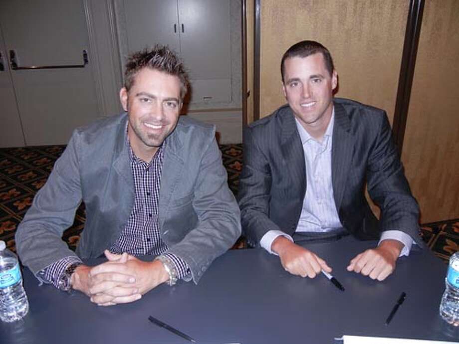 SF GIants relief pitchers Jeremy Affeldt (left) and Heath Hembree at the Giants Play Ball Lunch