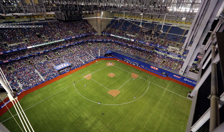A view of the Texas Rangers and San Diego Padres exhibition baseball game from the catwalk Friday March 29, 2013 at the Alamodome. Photo: Edward A. Ornelas, San Antonio Express-News / © 2013 San Antonio Express-News