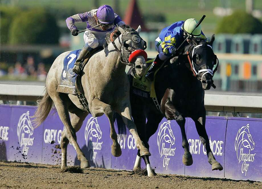 FILE - In this Nov. 3, 2012, file photo, Shanghai Bobby, right, with jockey Rosie Napravnik atop, races to the finish line against He's Had Enough, ridden by jockey Mario Gutierrez, to win the the Breeders' Cup Juvenile horse race at Santa Anita Park in Arcadia, Calif. Shanghai Bobby will get a chance to avenge the only defeat of his career when he takes on Itsmyluckyday and eight others in the $1 million Florida Derby on Saturday, March 30, 2013. (AP Photo/Jae C. Hong, File) Photo: Jae C. Hong / AP