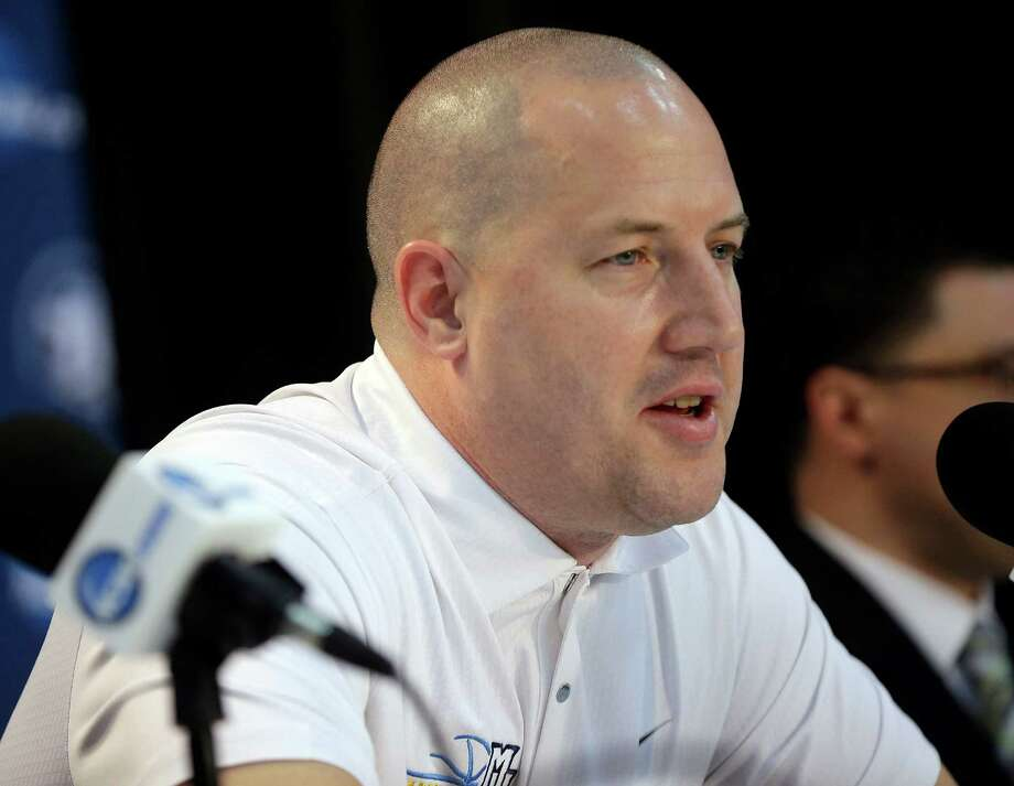 Marquette head coach Buzz Williams answer questions during a news conference Friday, March 29, 2013, in Washington. Marquette plays Syracuse in a regional semifinal game in the NCAA basketball tournament on Saturday. (AP Photo/Pablo Martinez Monsivais) Photo: Pablo Martinez Monsivais