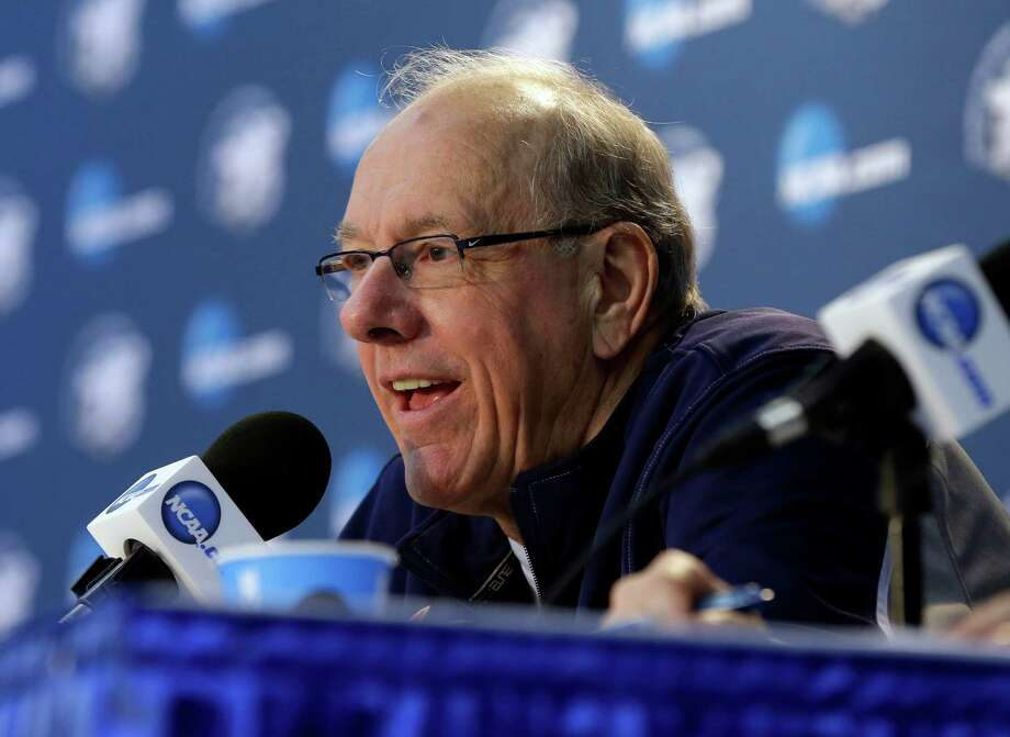 Syracuse head coach Jim Boeheim answers questions during a news conference Friday, March 29, 2013, in Washington. Syracuse plays Marquette in a regional semifinal game in the NCAA basketball tournament on Saturday. (AP Photo/Pablo Martinez Monsivais) Photo: Pablo Martinez Monsivais