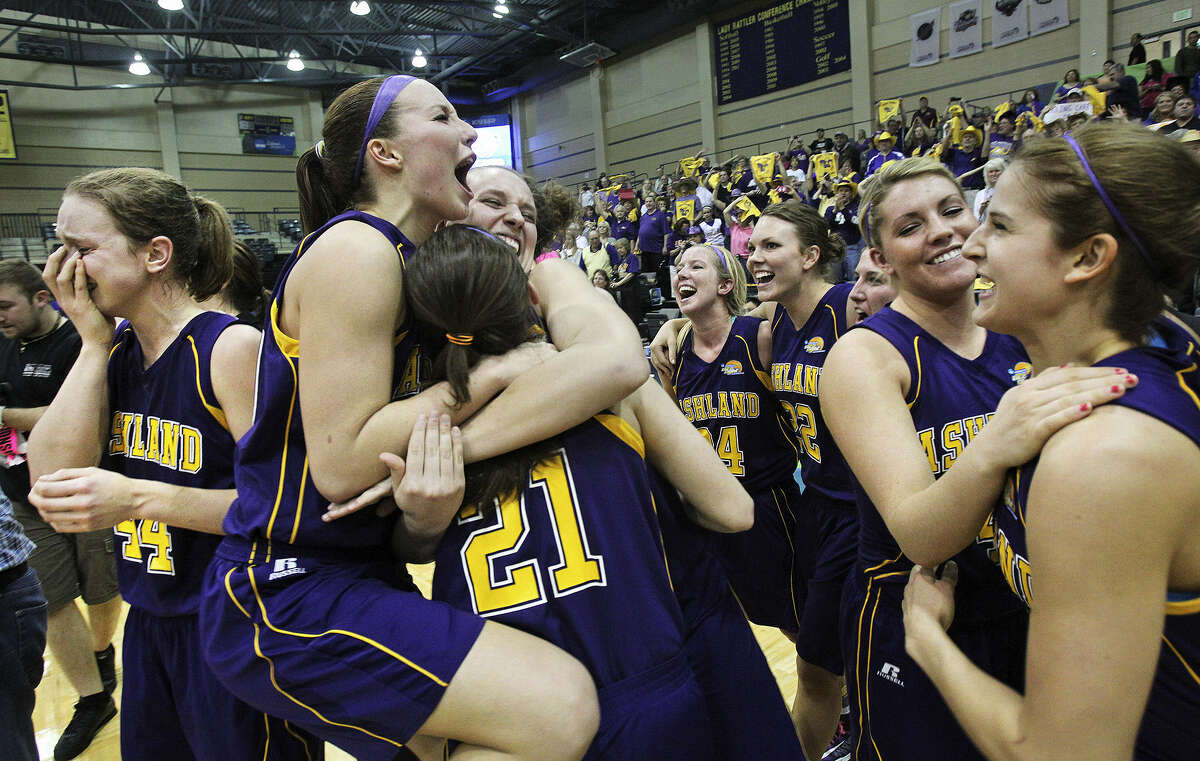 Ashland players rejoice in their win over Dowling, clinching the first title in school history for any sport.