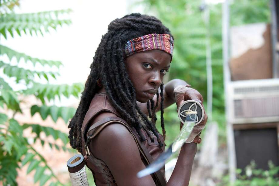 Danai Gurira plays fierce Michonne, a whiz with a katana blade.