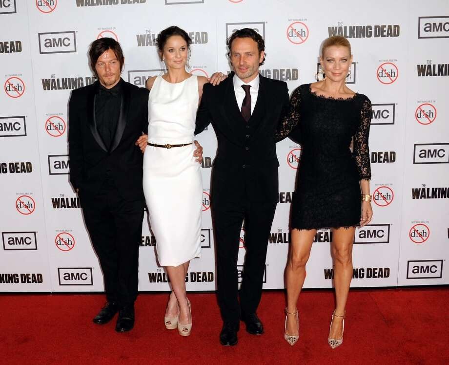 Now for the red carpet. Here's (L-R) Norman Reedus, Sarah Wayne Callies, Andrew Lincoln and Laurie Holden at ''The Walking Dead'' Season 3 premiere on Oct. 4, 2012.