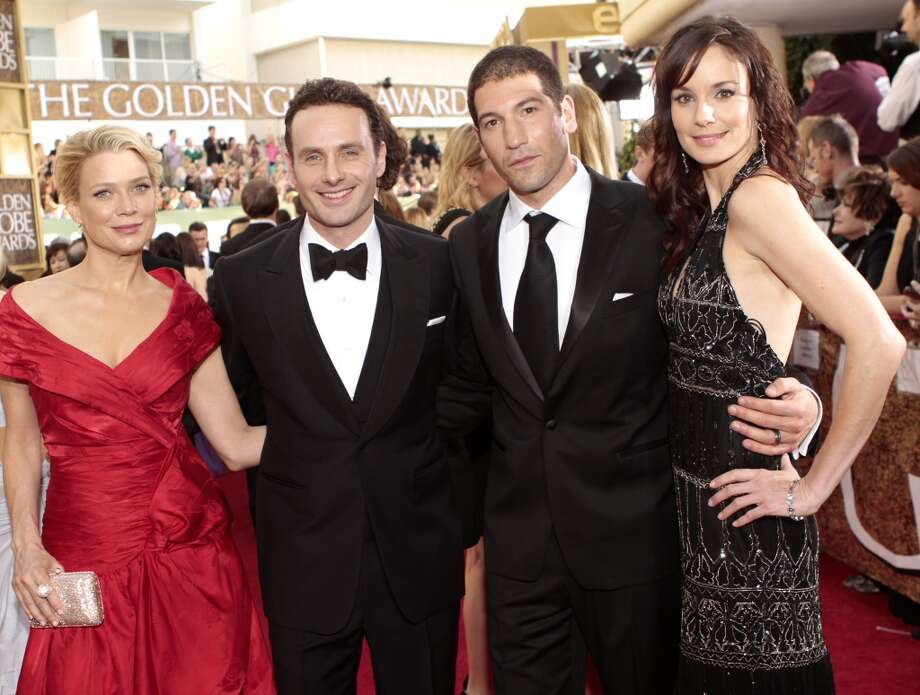 ''The Walking Dead'' actors (L-R) Laurie Holden, Andrew Lincoln, Jon Bernthal and Sarah Wayne Callies arrive at the Golden Globes in 2011.