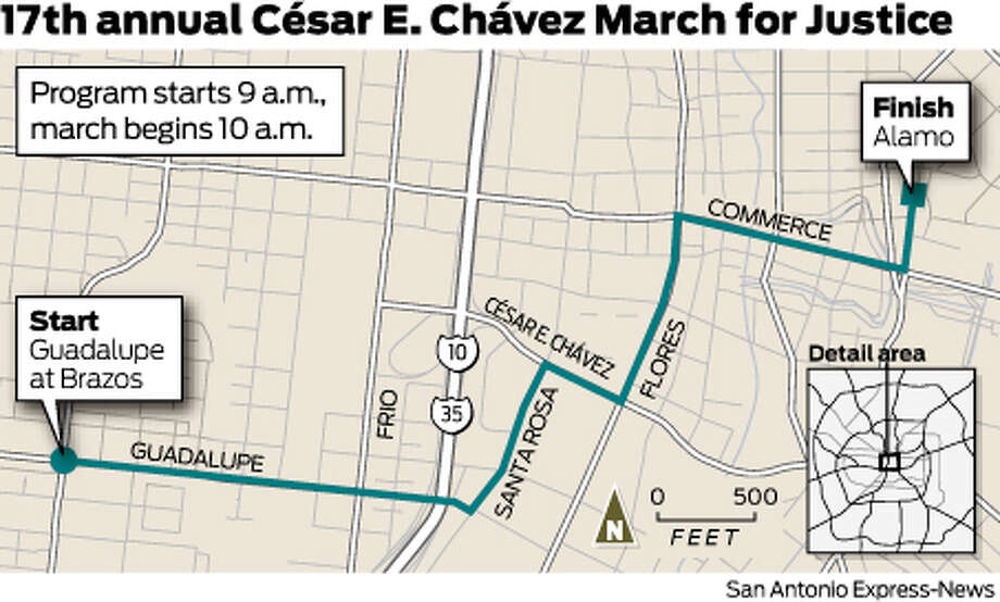 17th annual César A. Chávez March for Justice. Program starts 9 a.m., march begins 10 a.m. Photo: Harry Thomas/Express-News