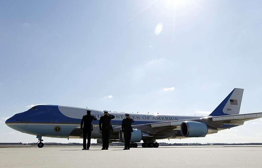 Air Force One with President Barack Obama aboard departs form Andrews Air Force Base, in Md. Friday, March 29,  2013. Obama is promoting a plan to create jobs by attracting private investment in highways and other public works during a visit to a Miami port on Friday. ( AP Photo/Jose Luis Magana) Photo: Jose Luis Magana, Associated Press