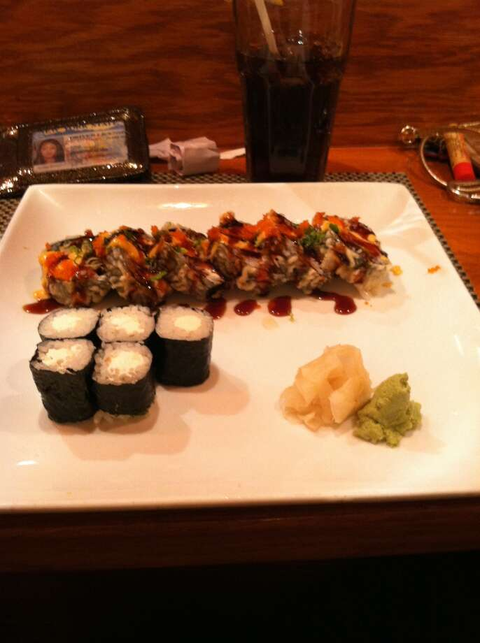 The James Bond Roll with a Cream Cheese Roll on the side.