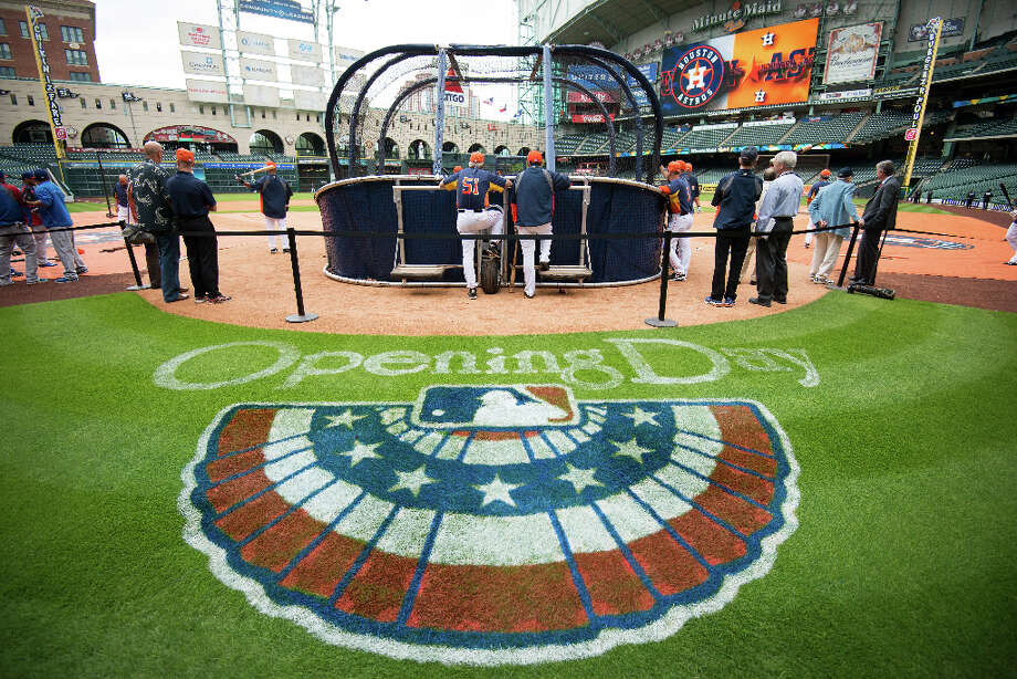 The opening day trimmings are on display at Minute Maid Park during batting practice. Photo: Smiley N. Pool, Houston Chronicle / © 2013  Smiley N. Pool