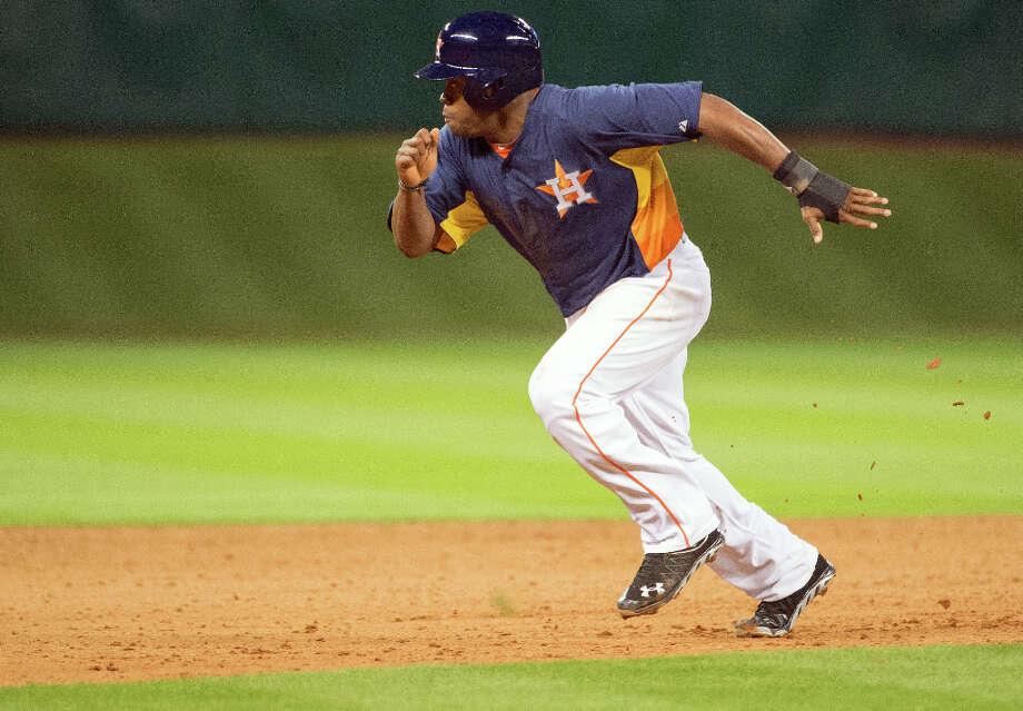 Astros prospect Delino DeShields runs the bases after coming in to pinch run. Photo: Smiley N. Pool, Houston Chronicle / © 2013  Smiley N. Pool
