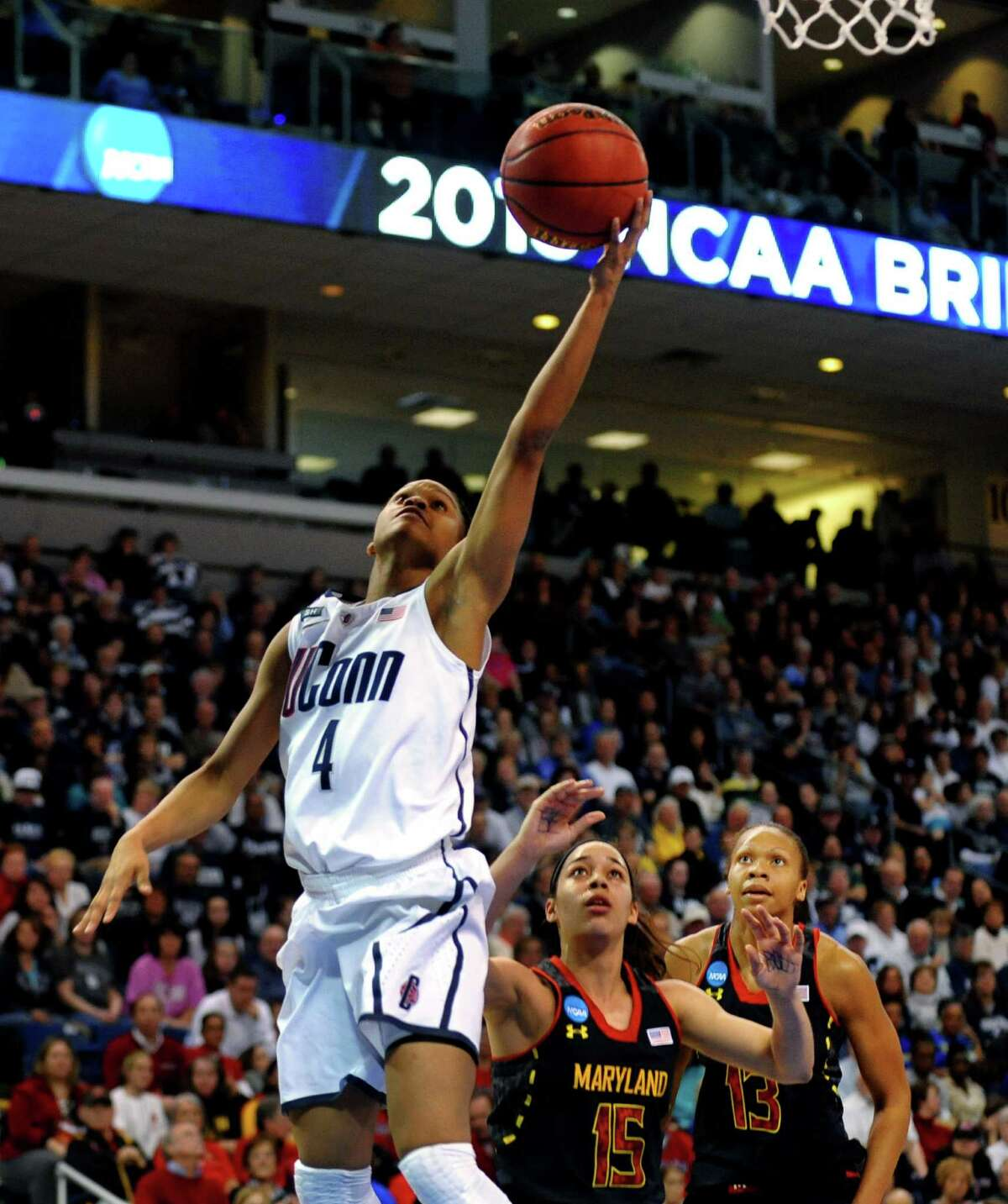UConn's Moriah Jefferson lays up the ball, during the women's NCAA Tournament Regional Semifinals action against University of Maryland at the Webster Bank Arena in Bridgeport, Conn. on Saturday March 30, 2013.