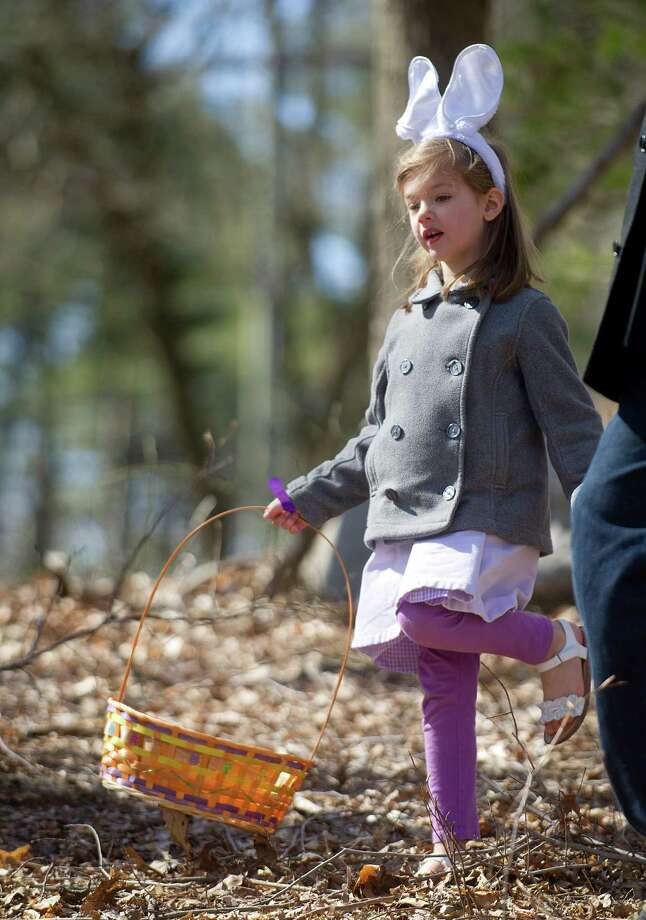 Madeline Weisberg, 4, collects eggs during the 9th Annual Heckscher Farm Egg Hunt on Saturday, March 30, 2013. Photo: Lindsay Perry / Stamford Advocate