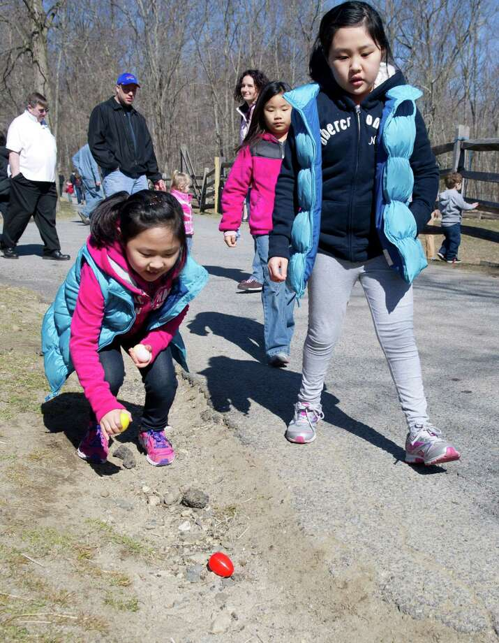 From left, Yuna Jung, 8, Yehji Ahn, 7, and Hannah Jung, 9, look for eggs during the 9th Annual Heckscher Farm Egg Hunt on Saturday, March 30, 2013. Photo: Lindsay Perry / Stamford Advocate