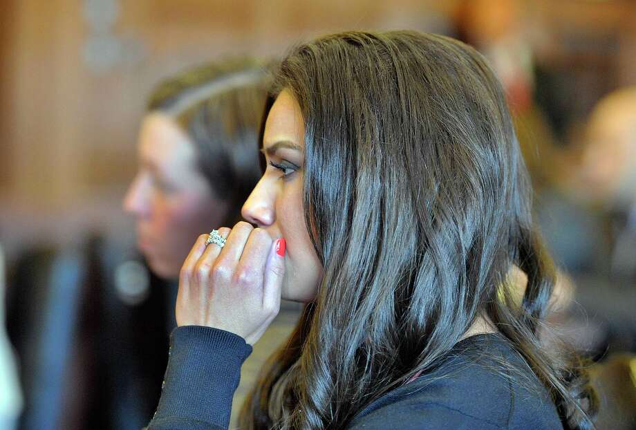 Alexis Wright appears with her attorney, Sarah Churchill, Friday, March 29, 2013 in Cumberland County Court, in Portland, Maine. Wright, a dance instructor accused of using her Zumba fitness studio as a front for prostitution pleaded guilty Friday to 20 counts in a scandal that captivated a quiet seaside town. (AP Photo/Portland Press Herald, John Ewing, Pool) Photo: John Ewing