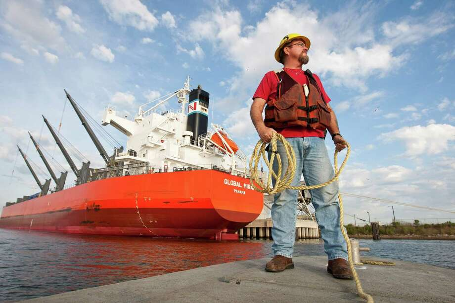Steve Bennett, a lineman, first went to sea as a boy on a two-week voyage to New York arranged by his dad, a Port of Houston pilot. Photo: Nick De La Torre, Staff / © 2013 Houston Chronicle