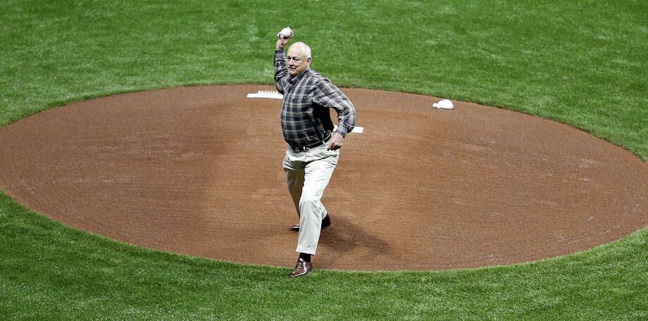 Texas Rangers' CEO Nolan Ryan throws out the first pitch before the game with the San Diego Padres part of the �Big League Weekend� Saturday March 30, 2013 at the Alamodome. The Rangers won 5-2. Photo: Edward A. Ornelas, Express-News / © 2013 San Antonio Express-News