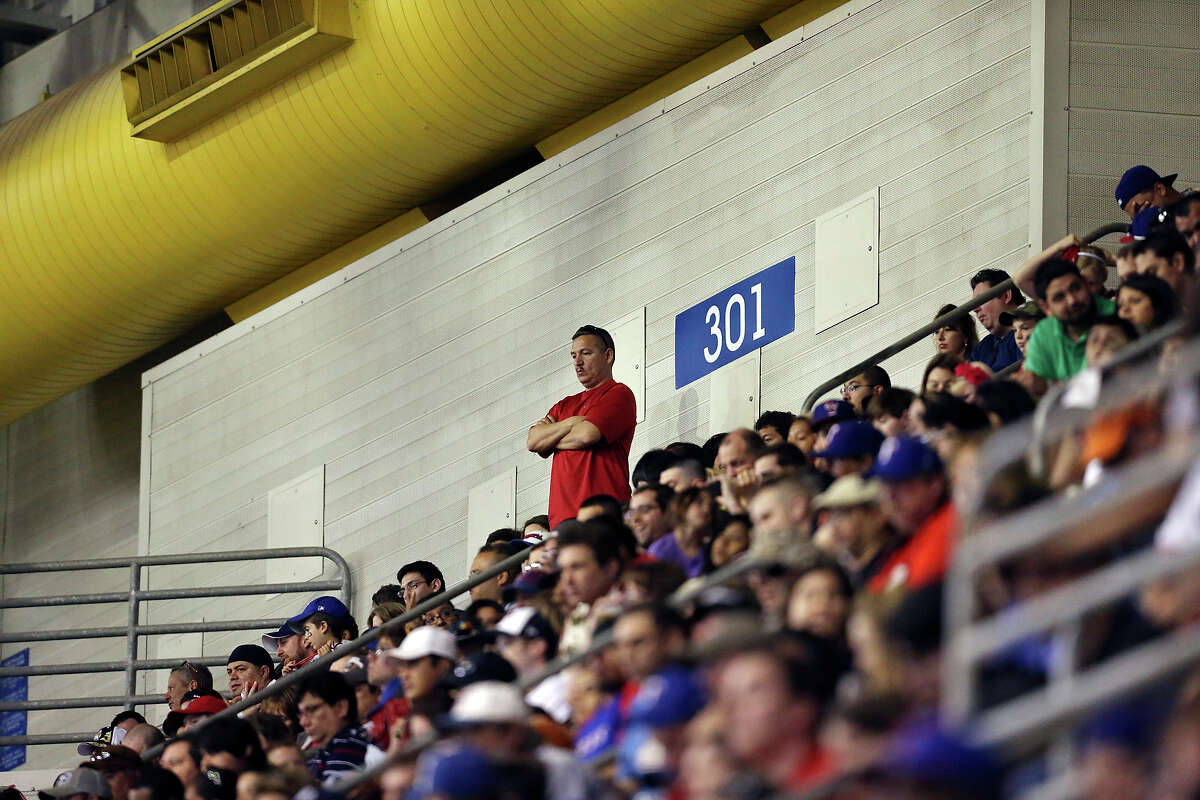 Fans watch the Texas Rangers and San Diego Padres exhibition baseball game part of the �Big League Weekend� Saturday March 30, 2013 at the Alamodome. The Rangers won 5-2.