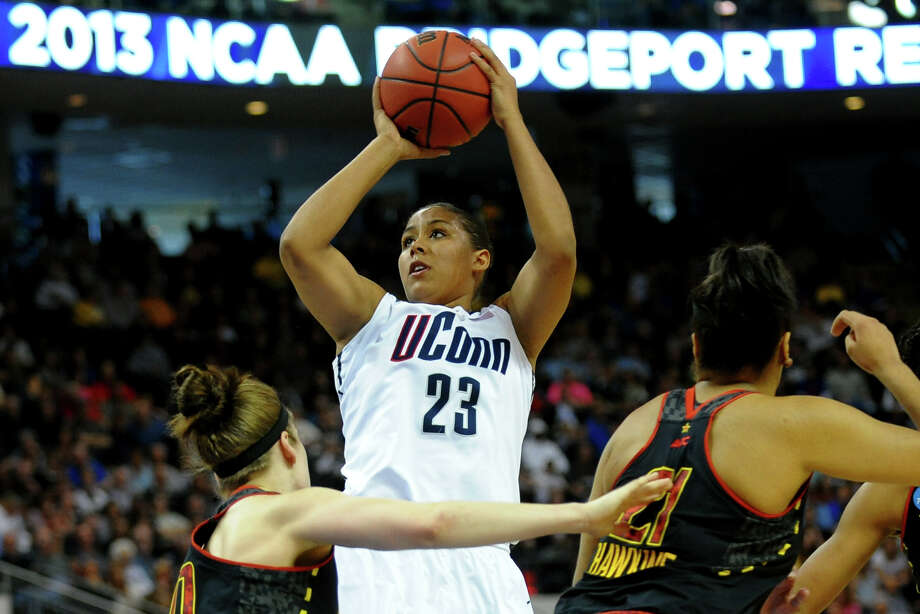 UConn's Kaleena Mosqueda-Lewis looks for two, during the women's NCAA Tournament Regional Semifinal action against University of Maryland at the Webster Bank Arena in Bridgeport, Conn. on Saturday March 30, 2013. Photo: Christian Abraham / Connecticut Post