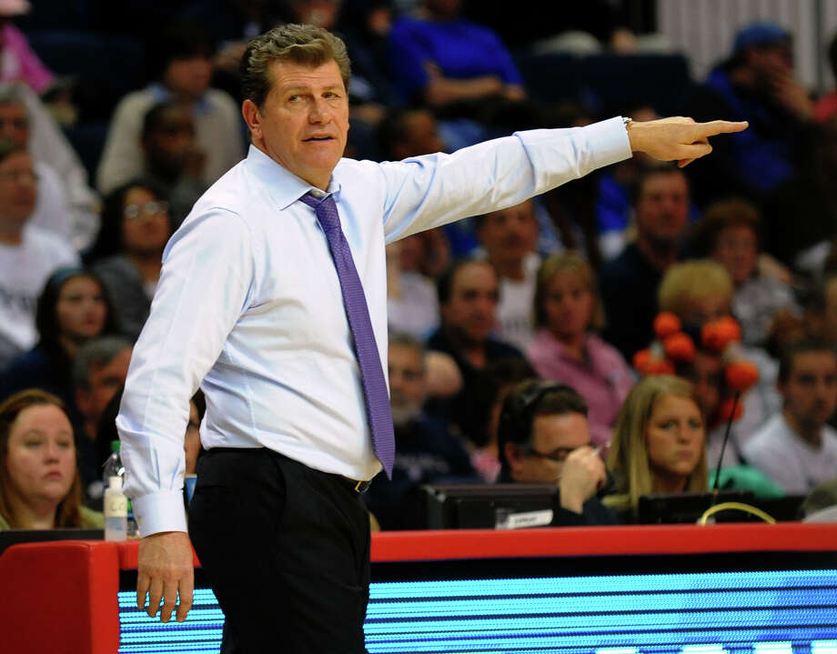 UConn Head Coach Geno Auriemma, during women's NCAA Tournament Regional Semifinal against University of Maryland at the Webster Bank Arena in Bridgeport, Conn. on Saturday March 30, 2013. Photo: Christian Abraham / Connecticut Post