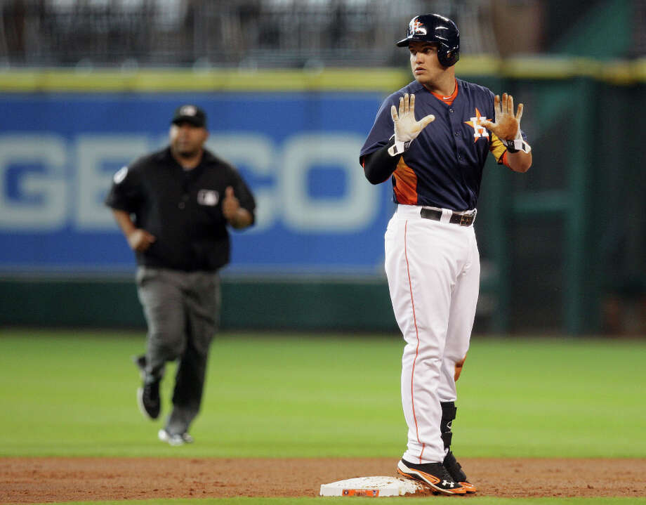 The Houston Astros Brandon Laird class for time during the second inning of MLB exhibition game action against the Chicago Cubs at Minute Maid Park Saturday, March 30, 2013, in Houston . Photo: James Nielsen, Houston Chronicle / © 2013 Houston Chronicle