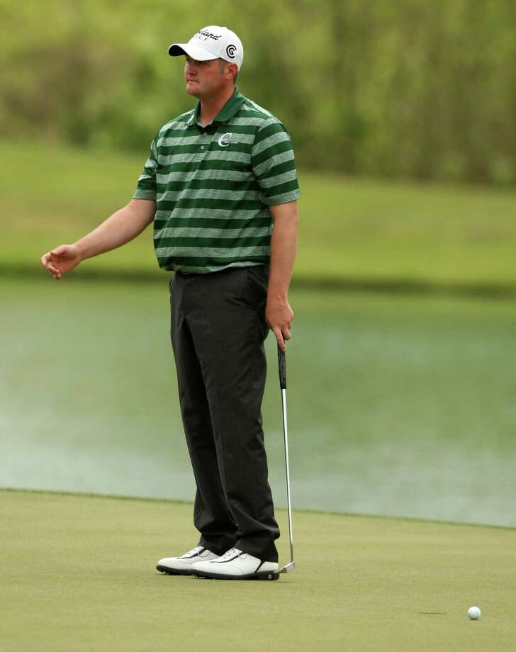 Jason Kokrak reacts after missing a four-foot putt for birdie during the third round of the Shell Houston Open, Saturday, March 30, 2013 at the Redstone Tournament Course in Humble. (Photo: Eric Christian Smith/For the Houston Chronicle) Photo: Eric Christian Smith, For The Chronicle